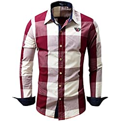 Camisas hombre Camisa de manga larga de algodón del dril de algodón cuadros solapa Mejores cuadros Fit Slim, YanHoo camisas hombre comprar Casual para hombre manga larga camisa del negocio (Rojo, L)