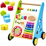 Kinder Holz Lauflernwagen Gehfrei Laufwagen Baby Laufhilfe mit Zusatzfach und Spielzeug Speedy