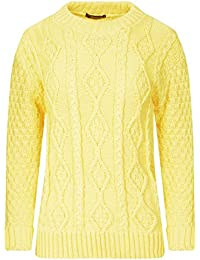 Ladies Womens New Chunky Diamond Cable Knitted Long Sleeve Sweater Pull  Over Jumper Top b0eef3220