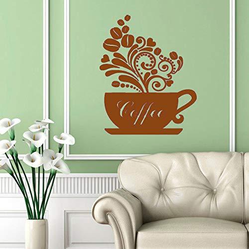 guijiumai Wandtattoos Tasse dampfenden Kaffee Blumen Stil Küche Cafe Vinyl Aufkleber Aufkleber Home Interior Design Kunst Wandbild Dekor 4 59 cm x 76 cm