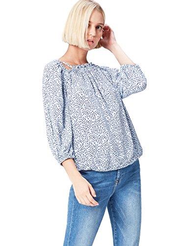 find. Bluse Damen mit Schulter-Cutouts, Blumen-Muster, 3/4-Arm und lockerer Passform, Blau (Blue), 42 (Herstellergröße: X-Large)