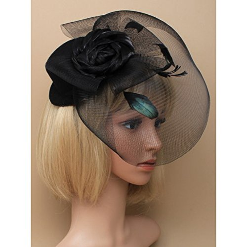 black-hat-fascinator-with-satin-rose-mesh-bow-net-with-feather-detail-on-clip-ideal-for-weddings-rac