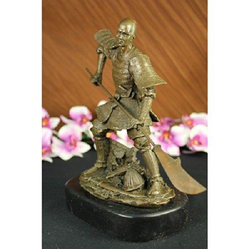 Statua di bronzo Scultura...Spedizione Gratuita...Firmato Fierce antico Samurai Warrior(ds-096-EU)Statue Figurine Figurine Nude per ufficio e casa Décor Primo Giorno Collezionismo Articoli da regalo - Antico Firmato
