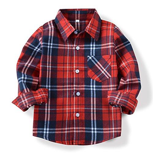OCHENTA Hemden Jungen Langarm Plaid Kariert Freizeithemd E002 Klassische Rot Asiatisch 160cm-(De 154cm) (Shirt Fit Plaid Classic)