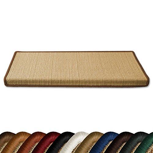Stufenmatten myStyle 15er Spar Set | Kettelung in Wunschfarbe | 100 % Naturfaser Sisal | rechteckig | stabiler Halt dank Winkelschiene (Kettelung Hellbraun)