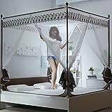 Vier ecke reißverschluss moskitonetz betthimmel, 3-türig Jurte Quadrat oben Bett sitzt Moskito vorhang-brown Queen1