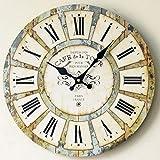LYXPUZI Europäische Retro Wanduhr der Wohnzusätze/hölzerner kreativer runder Uhrdämpfer der Wanddekoration (Farbe : C)