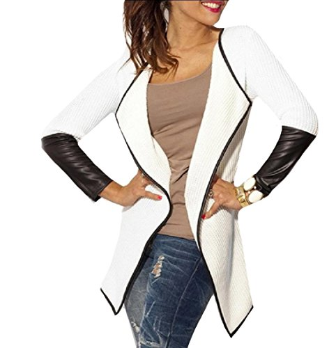 CuteRose Womens Faux Leather Knitting High Low Hem Long-Sleeve Cardigan White S