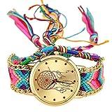 YUYOUG Vansvar - Reloj de Cuarzo con Correa de Terciopelo Coreano y atrapasueños, Hecho a Mano, A, Talla única