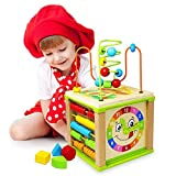 Titiyogo Activity Cube Toys Baby Educational Wooden Bead Maze Shape Sorter for 1 Year Old Boys Girls Kids Toddlers Gift Activity Center