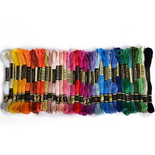 BOXCUTE Lot de 36 Echevettes de Fils Multicolores Pour Broderie Point de Croix Tricotage Bracelets Brésiliens