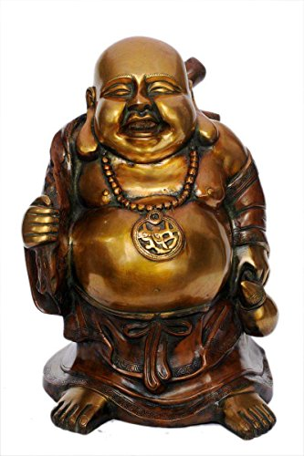 Home Works-Statuetta di Buddha in ottone, Idol, Laughing Buddha felice, colore: arancione, Rame, 50,80 (20 cm - Laughing Buddha