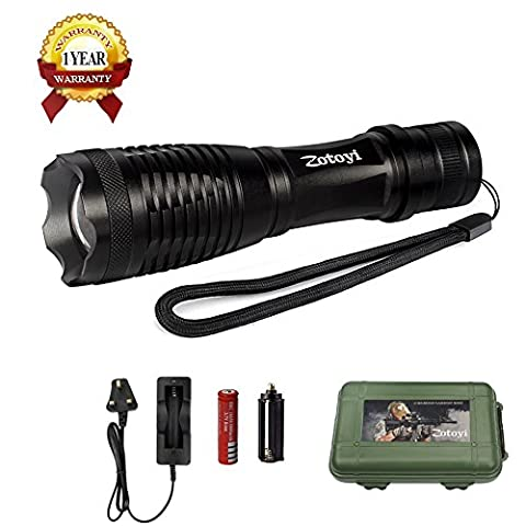 LED Torch Flashlight, Zotoyi Super Bright 1000Lumen XML-T6 LED Tactical Torch Portable Handheld Flashlight with Water Resistant, Zoomable Adjustable Focus 5 Light Modes, 18650 Rechargeable Battery and Charger. Ship from UK