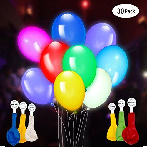 (GIGALUMI Leuchtende Luftballons 30 Stück 5 Farben Blinken Bunt LED Ballons für Hochzeit Weihnachten Geburtstag Luftballon Party Deko)