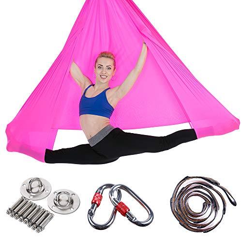 MIMI KING Yoga Hängemck Aerial Pilates Swing Set Soft Nylon Fabric mit Installations-Hardware und Daisy Chain Adjustable Straps,Rosered