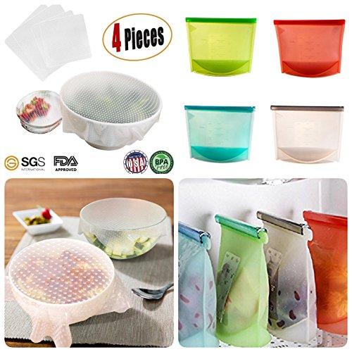 Tiannuofa Juego de 4 bolsas de silicona para alimentos reutilizables y...