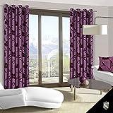140x245 cm violett Pflaume Vorhang Vorhänge Blickdicht Fensterdekoration Gardine Ösenschal Blumenmotiv Pflanzenmuster violet purple EDEN