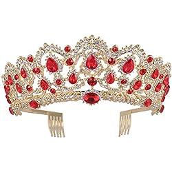 Corona de Reina, Corona de Cristal Rhinestone de Venda de Vendimia, Tiaras de Boda para Muchacha y Mujer (rojo)