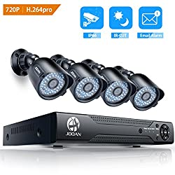 JOOAN Überwachungskamera-System AHD 720P CCTV Kit 8CH DVR CCTV-Kameras mit Gute-Nachtsicht Security Camera System wetterfeste Kamera mit 3,6 mm-Objektiv keine Festplatte