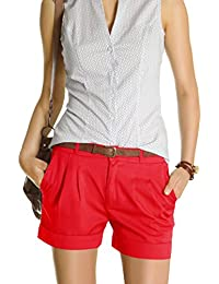 Bestyledberlin Damen Shorts, kurze Chino Hosen, Damenhosen, Bundfaltenhosen j161p