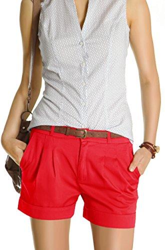 Bestyledberlin Damen Shorts, kurze Chino Hosen, Damenhosen, Bundfaltenhosen j161p 38/M rot
