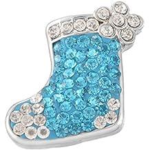 Souarts Silberfarbe Socke Blume Click Button 5.5mm Rund Druckknopf mit Strass 1St.