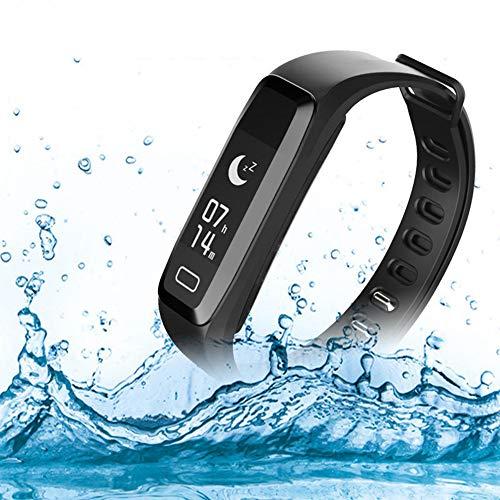 CXL Intelligentes Armband Herz Rate Blutdruck-Überwachung Übung Schritt schlafüberwachen Ruf Multi-Sport-Modus Wasserdichten Tracker weiblich und männlich Pedometer,Black