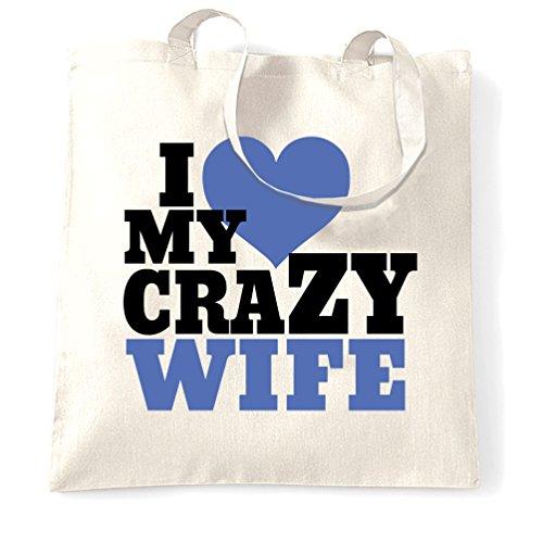 I Love My Husband Pazzo Anniversario Famiglia Cuore Amore Partner Sacchetto Di Tote White