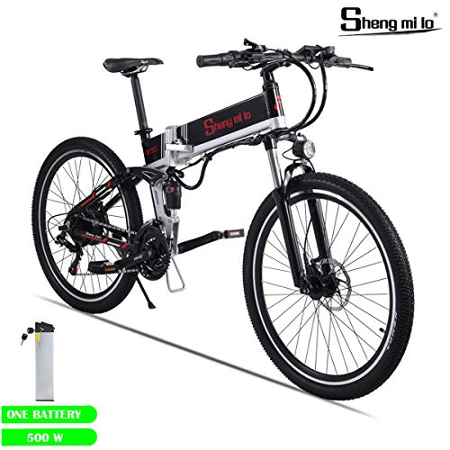 Shengmilo Elektrofahrräder, 26 Zoll Mountain Road Fahrräder E-Bike, 48 V / 500 W Lithiumbatterie Inklusive (500W SCHWARZ)