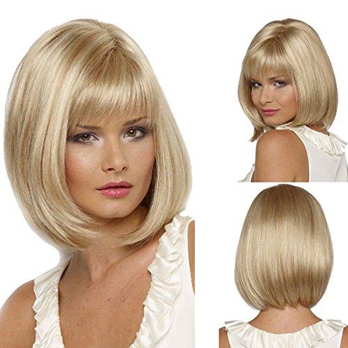 Blonde Perücke glattes Haar | Halloween Kostüm Party und Alltagskleidung | Echt Promi Perücke Mode kurze Haare , 0