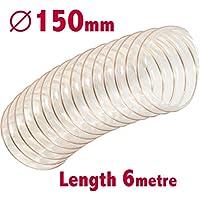 Manguera flexible transparente para extractor de polvo, 150 mm ID x 6 m de longitud