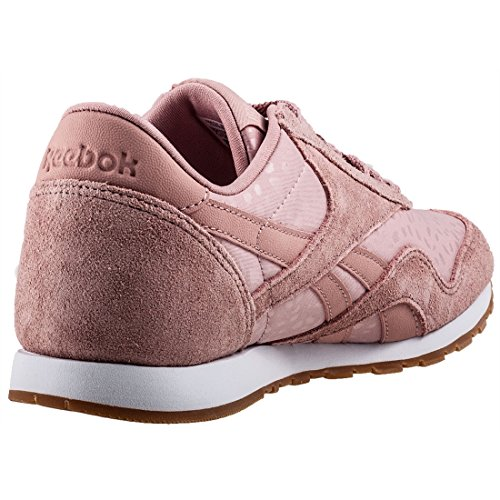 b92fae0c3ce Reebok Damen Classic Nylon Slim Text Lux Sneaker Pink (Chalk Pink White Gum  ...