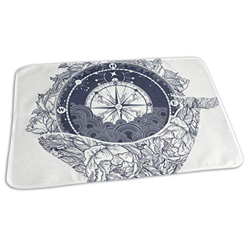 Changing Pad Compass and Floral Whale Baby Diaper Urine Pad Mat Designer Boys Mattress Sheet Protector Sheet for Any Places for Home Travel Bed Play Stroller Crib Car (Set Crib Sheet Boy)