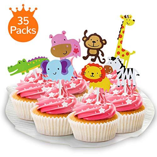 XCOZU 35 Stück Dschungel Tier Cupcake Toppers, Zoo Tier Kuchen Cake Toppers Kuchendeckel für Kinder Baby Shower Party Geburtstag Party DIY Süß Cupcake Kuchen Dekoration (Bei Topper Kuchen)