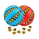 Giocattolo Palla per Cane, Gioco Palla Rimbalzante Cane, Giocattolo Resistente Palla per Cani, Palla per Pulito dei Denti di Cane Pulizia Denti Cane - 7cm di Diametro, 2 Pack Rosso e Blu