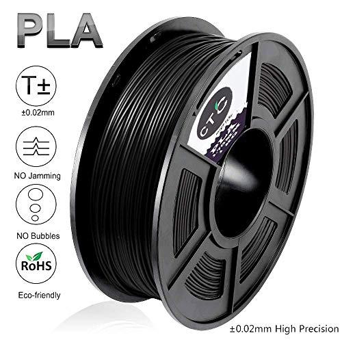 PLA 3D Drucker Filament - Schwarz 1.75 mm (Maßgenauigkeit+/- 0.02 mm) High Quality Umweltfreundlich PLA 3D Filament für 3D Drucker & 3D Stifte (Black-2)