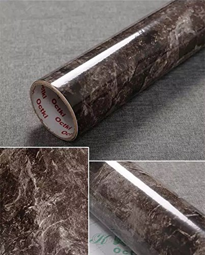 "yancorp Marmor Kontakt Papier selbstklebend Folie peel-stick Tapete glänzend Theken Regalen Aufkleber 11.8\"" x 78.7\"" dunkelbraun"