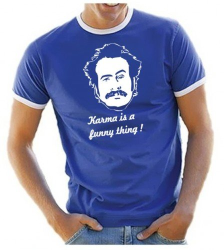 My name is Earl - Karma is a funny thing - T-SHIRT RINGER royalblau Gr.S