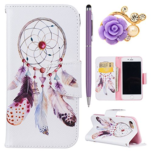 iPhone 7 Handytasche,iPhone 7 Hülle,iPhone 7 Case- Felfy Slim Full Body Schön Farbe Muster Ständer mit Kreditkarte Slots Magnetic Button PU Leder Wallet Case Cover Etui Holster Brieftasche Mode Hülle  Campanula Feder Cas