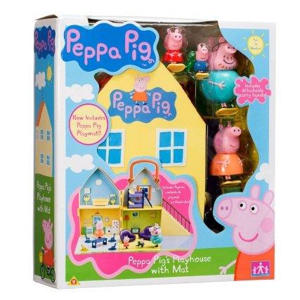 Peppa Pig casetta con tappetino. Adatto a bambini a partire dai 18mesi. Include figure, Contenuto e gioco.