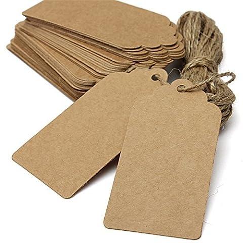 Ceeva 100 Marron Kraft Tag papier de cadeaux Etiquette de coquetterie de mariage Blanc Mots clés de bagages Cordes