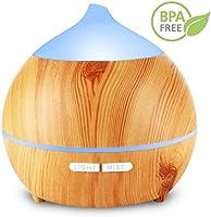 Aroma Diffuser, 250ml Holzmaserung Aromatherapy Diffuser Ultraschall-Luftbefeuchter Cool Nebel Mit Niedrig Wasser Automatische Abschaltung, 7 Farbe LED Perfekt für Weihnachtsgeschenk Yoga Spa