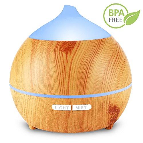 Aromatherapie Diffuser, 250ml Holzmaserung Aromatherapy Diffuser Ultraschall-Luftbefeuchter Cool Nebel Mit Niedrig Wasser Automatische Abschaltung, 7 Farbe LED Perfekt für Weihnachtsgeschenk Yoga Spa