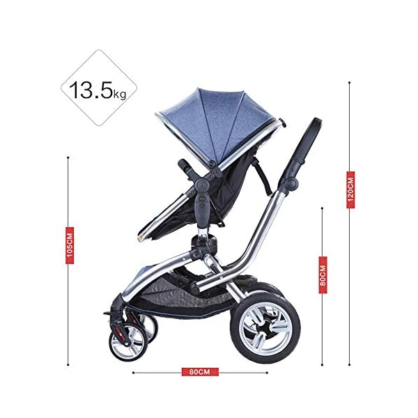 HJJGRASS Baby Stroller Lightweight Folding Pushchair Pram Buggy Stroller Buggy,Gray HJJGRASS The seat is 38cm wide and can be called a mobile crib. Easy folding - This pushchair is as simple to fold away as possible - with one hand only within a matter of seconds; this way it will fit any car boot and you will always have one free hand Long use - This stroller is usable for a long period of time; it is suitable from birth and Car load: greater than 15G 6