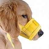ubest Hund Maulkorb mit Klettverschluss, Gepolstert und Einstellbar Nylon, für meistens Hunde, Größe M, Gelb