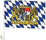 BUDILA® 2 Stück Autofahnen Freistaat Bayern mit Wappen extra stabil
