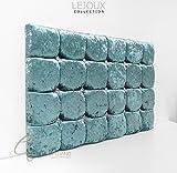 LejouxTM-Würfel mit Luxus-Kopfteil, Bett in Crushed Samt mit Double, King, Aqua, 4ft6 (Double) 20 Inches High