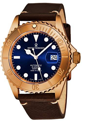 Revue Thommen Diver XL Homme 42mm Bracelet Cuir Automatique Montre 17571.2595