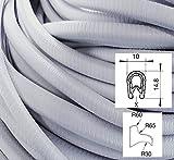 KS1-4S/ W/ HG Kantenschutz PVC Gummi Klemmprofil mit Stahleinlage - Klemmbereich 1-4mm (3 m, hellgrau)