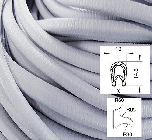 Preisvergleich Produktbild KS1-4S/ W/ HG Kantenschutz PVC Gummi Klemmprofil mit Stahleinlage - Klemmbereich 1-4mm (3 m, hellgrau)